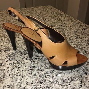 a.n.a. Cognac sling back peep toe sandals